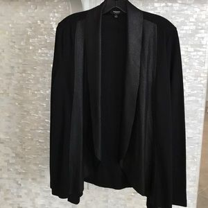 Black Faux Leather Draped Cardigan